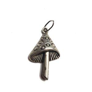 Vintage Pewter Mushroom Dangle Necklace Charm